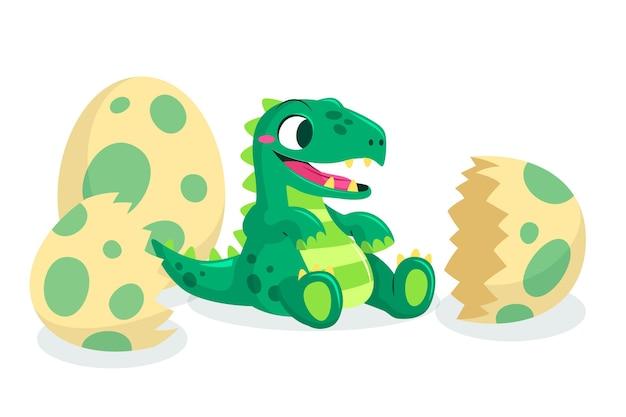 Cartoon adorable baby dinosaur illustrated