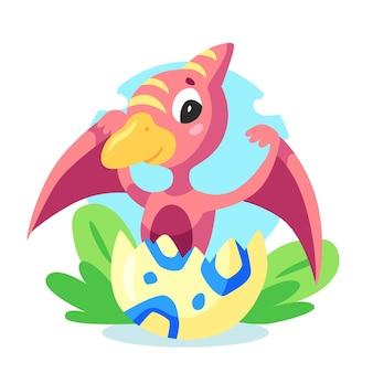 Мультяшный очаровательный маленький динозавр