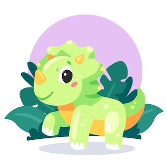 図解された漫画の愛らしい赤ちゃん恐竜