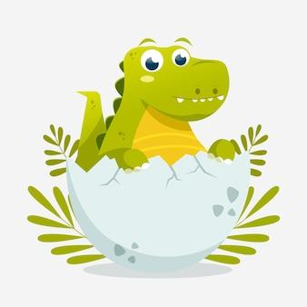 Cartoon adorable baby dinosaur