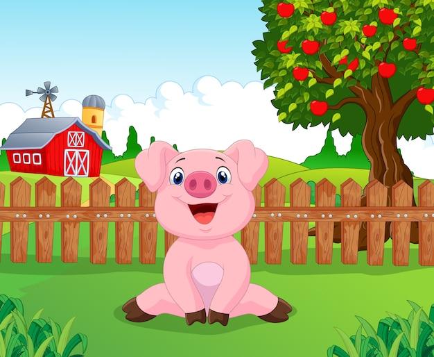 Cartoon adorable baby pig on the farm