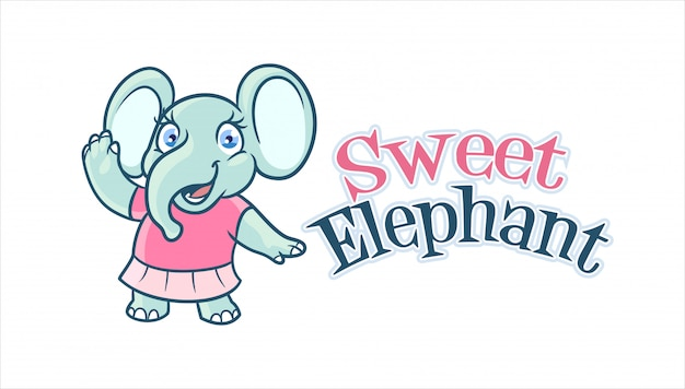 Cartoon adorable and cute elephant girl character mascot logo