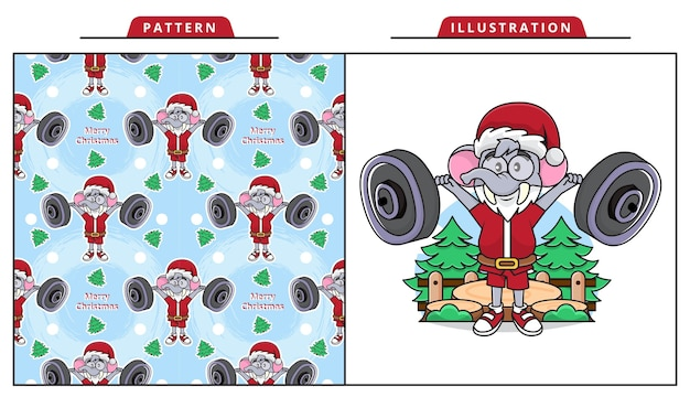 Cartoon of adorable elephant wearing santa claus costume and strings a barbell with seamless pattern