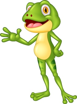 Cartoon adorable frog waving hand
