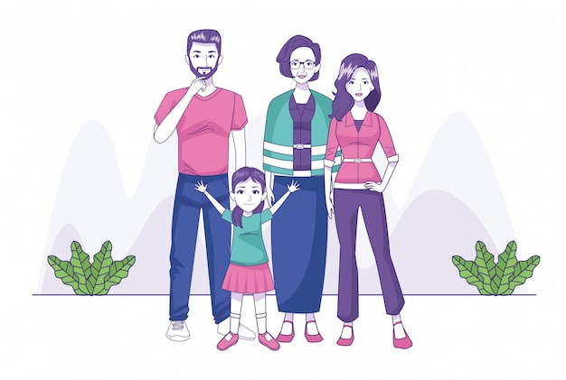 Cartoon adult couple with old woman and little girl