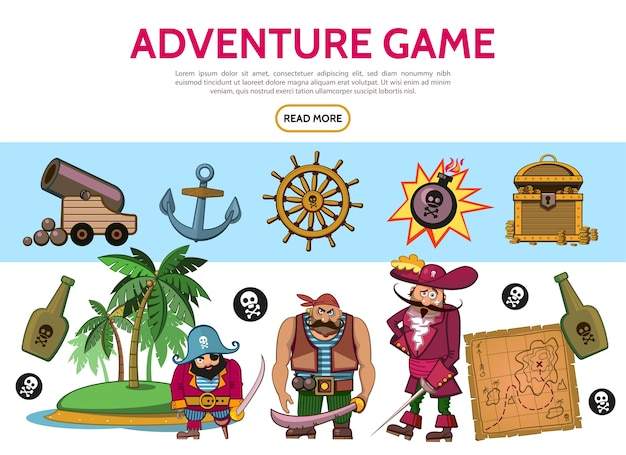 Cartoon adventure game elements set