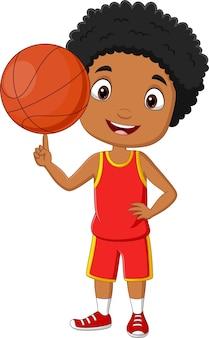 Cartoon african american boy playing basketball