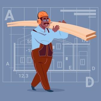 Cartoon african american builder holding planks