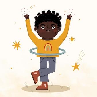 Афро-американская девушка мультфильм иллюстрации