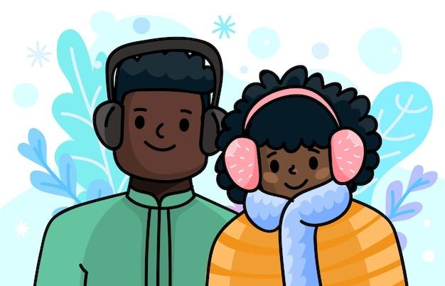 冬の服を着た漫画のアフリカ系アメリカ人のペアこの冬は暖かく滞在