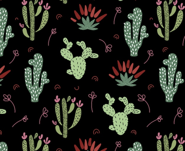 Cartoon african cactus seamless pattern