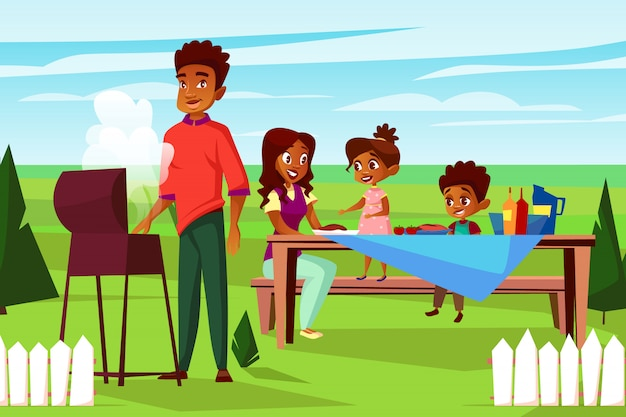 Cartoon african family at outdoor bbq picnic party at weekend.