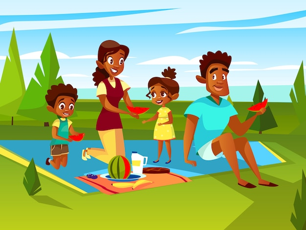Cartoon african family at outdoor picnic party at weekend.