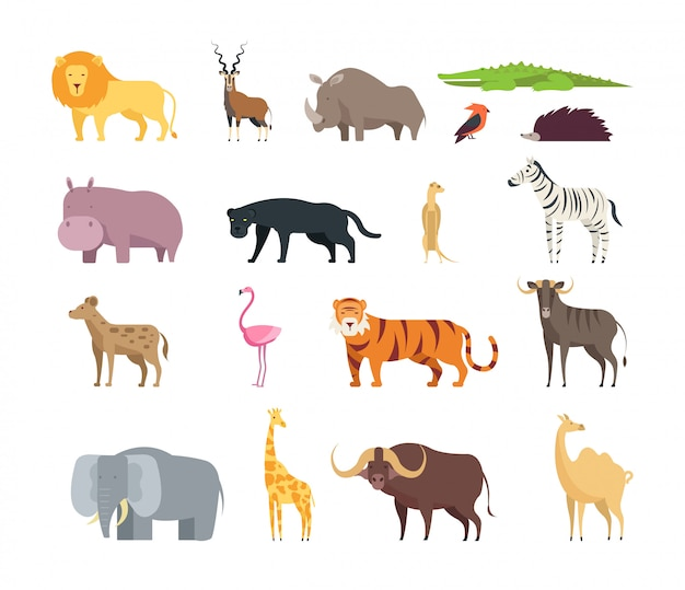 Cartoon african savannah animals.