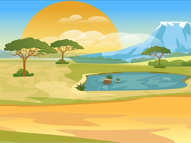 Cartoon african savannah. realistic landscape