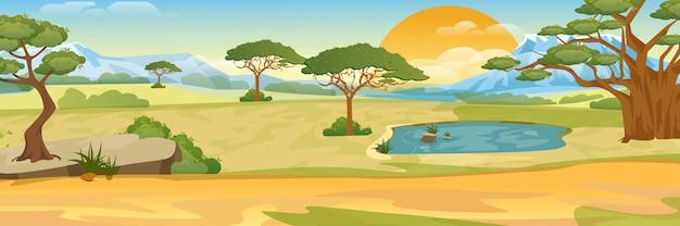 漫画のアフリカのサバンナ。現実的な風景