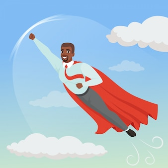 Cartoon afro-american man with superhero cloak flying in blue sky. professional growth and promotion. successful businessman character in shirt, tie and pants.