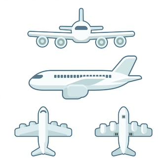 Cartoon airplane set in flat style