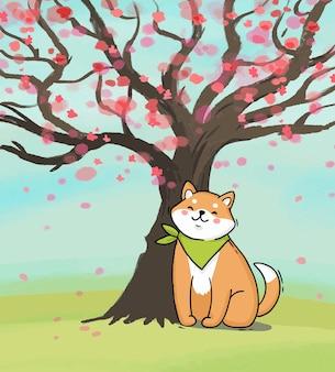 벚꽃 나무 아래 만화 아키타 견 개