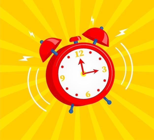 黄色の背景に分離された漫画の目覚まし時計アイコン。ベクトルイラスト。