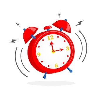 Cartoon alarm clock isolated on white