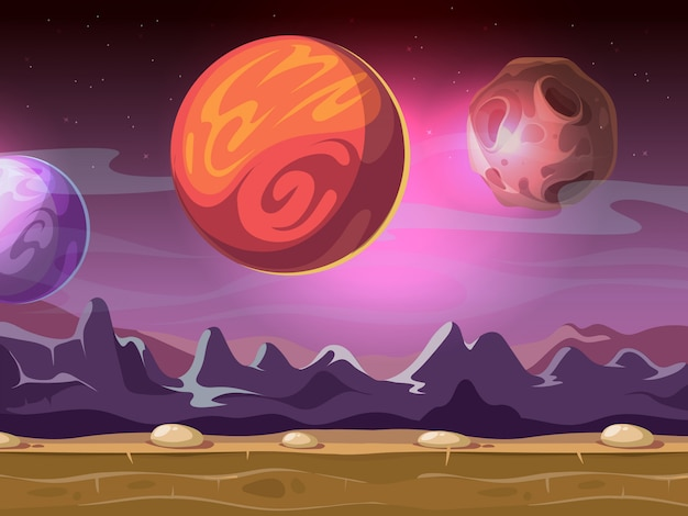 Cartoon alien fantastic landscape with moons and planets on starry sky background