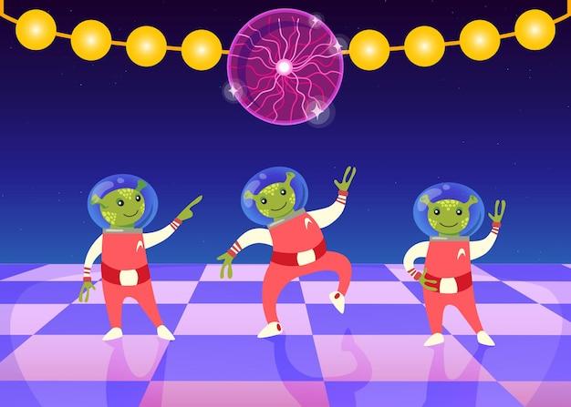 우주복을 입은 만화 외계인들은 댄스 플로어에서 춤을 춥니다. 디스코 볼과 화환 플랫 일러스트와 함께 나이트 클럽