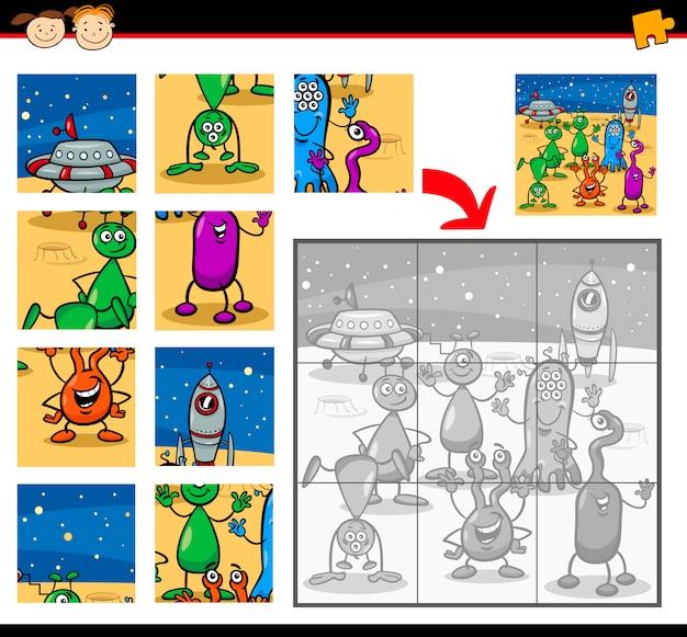만화 외계인 직소 퍼즐 게임