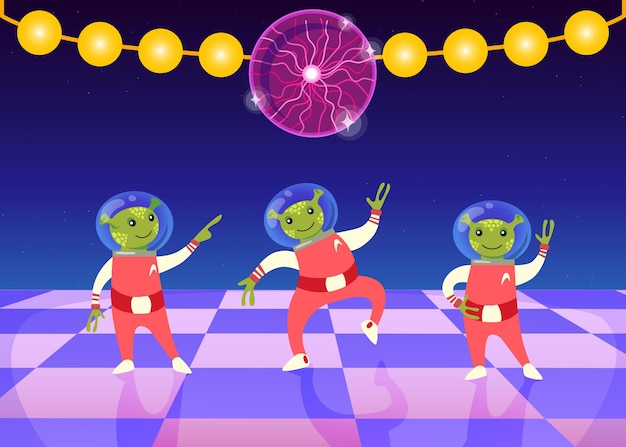 Cartoon aliens in space suit dancing om dance floor. night club with disco ball and garland flat illustration