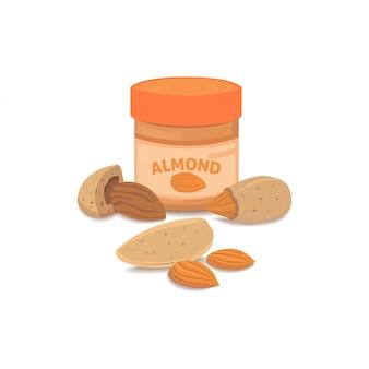 Cartoon almonds vector isolated illustration.
