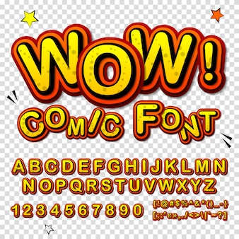 Cartoon alphabet in comics and pop art style. funny yellow font of letters and numbers for decoration comics book page