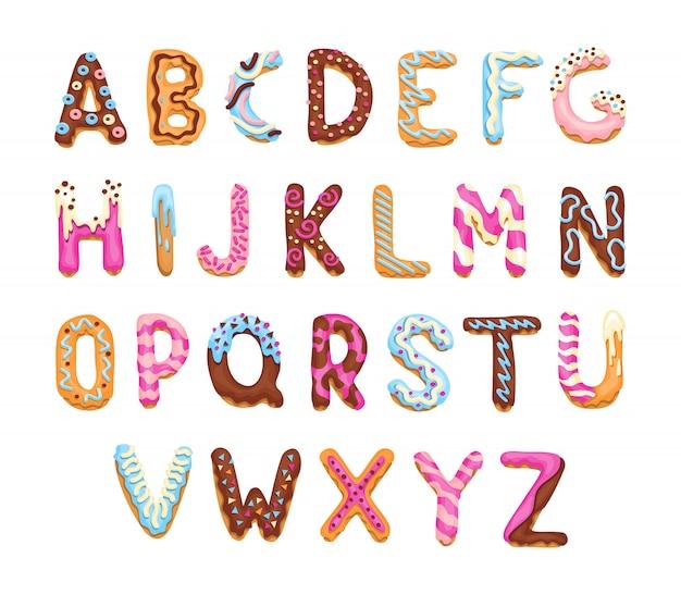 Мультяшный алфавит. печенье шрифт. векторные буквы, выпечки в цветной глазури. креативный дизайн типографии пряников. детские сладкие пончики. коллекция писем