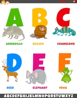 Cartoon alphabet set with animal characters