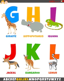 Cartoon alphabet set with comic animal characters