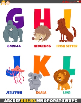 Cartoon alphabet set with cute animal characters