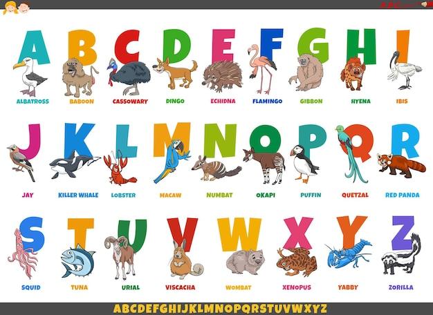재미있는 동물 캐릭터와 만화 알파벳 세트