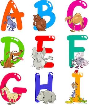 動物の漫画アルファベット