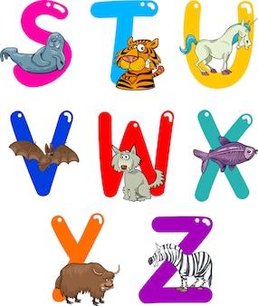 Мультяшный алфавит с животными