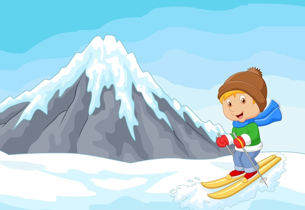 Cartoon alpine skier races extreme hill with iceberg