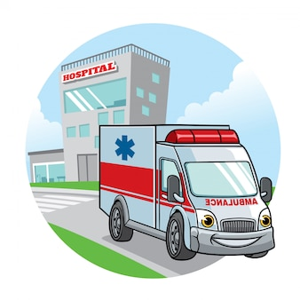Cartoon ambulance car with hospital building on the backgrund
