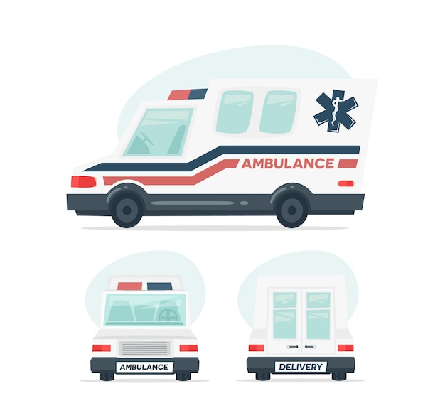 Cartoon ambulance car