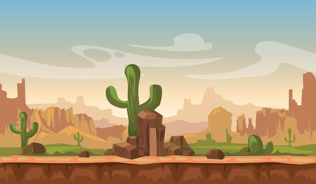 Cartoon america prairie desert landscape with cactus, hills and mountains. game seamless vector back