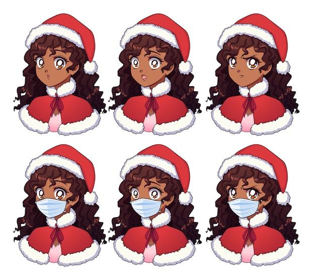 クリスマスの衣装と医療マスクを身に着けている漫画のアメリカのアフリカの女の子