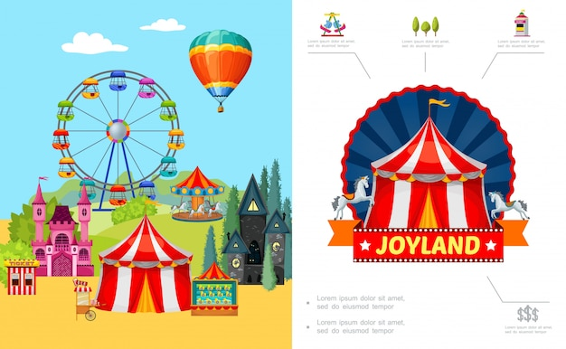 Cartoon amusement park composition with ferris wheel castle horror house food cart ticket booth shooting gallery hot air balloon