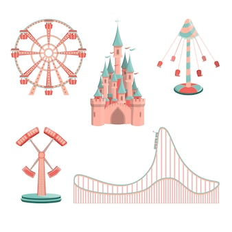 Cartoon amusement park rides icon set