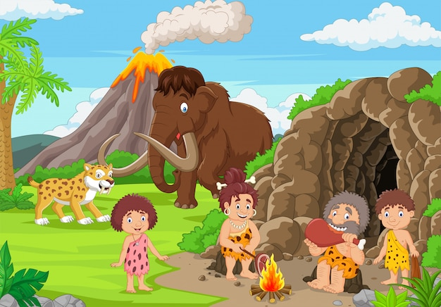 Cartoon ancient cavemen in stone age with mammoth and sabertooth