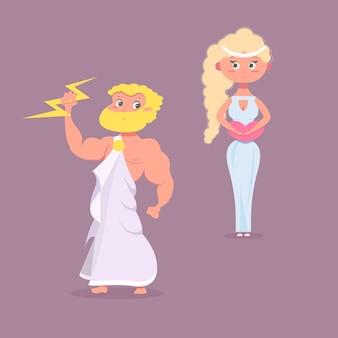 漫画の古代神話のキャラクター、孤立した男性と女性。漫画のイメージの歴史のキャラクターギリシャ文化。ベクトルイラスト