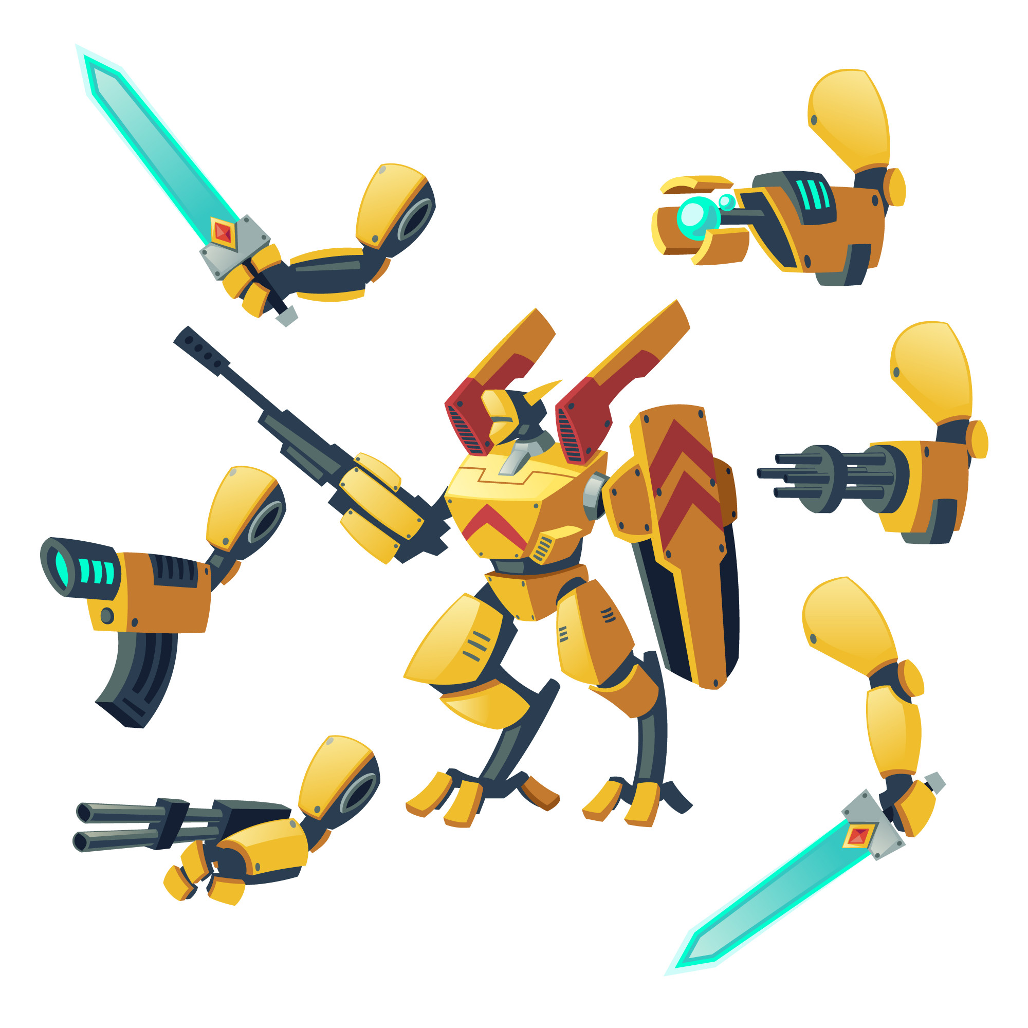Cartoon android, human soldier in robotic combat exoskeletons with guns