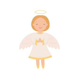 漫画の天使。白い背景で隔離のベクトルイラスト。 eps10