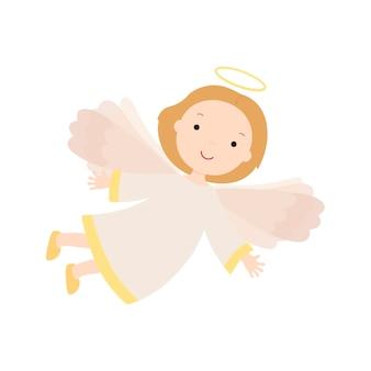 漫画の天使。白い背景で隔離のベクトルイラスト。